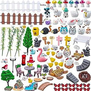Jetec 113 Pieces Fairy Miniature Garden Accessories Mini Animals Figurines Fairy Animal Figurines Miniature Moss Landscape Accessories for Outdoor Home Garden DIY Decoration