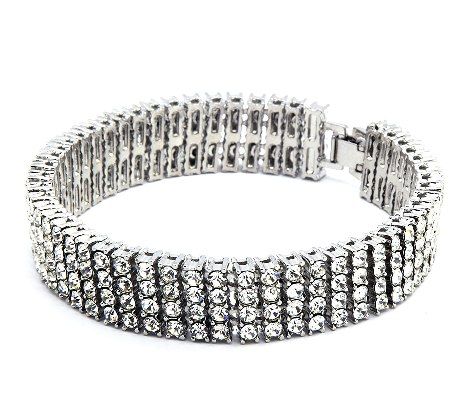 Mens Silver Plated Iced Out Clear Cz Stones 4 Row Hip Hop Bracelet 8 Inches