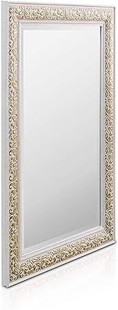 90x60 cm Bianco e Argento Antico Specchio Grande Stile Vintage Francese Rococo by Casa Chic Specchio da Parete