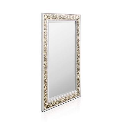 shabby chic wandspiegel 90 x 60 cm großer französischer spiegel im vintage stil antik weiß und gold  spiegel hochwertige qualitat klasse design #9