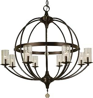 product image for Framburg 1078 MB 8-Light Compass Foyer Chandelier, Mahogany Bronze