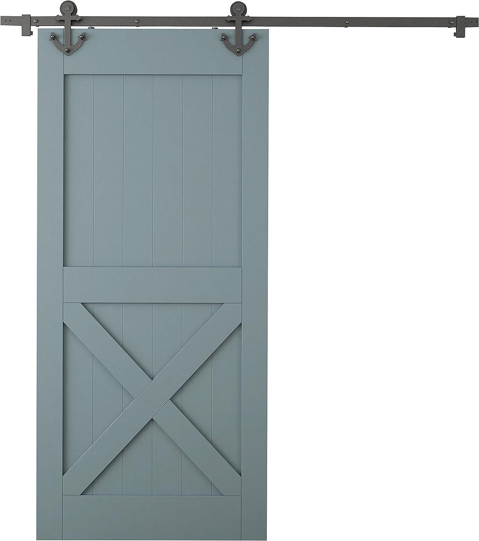 TMS 6 ft Negro Patrón de anclaje estilo madera de granero corredera puerta Hardware Set: Amazon.es: Bricolaje y herramientas