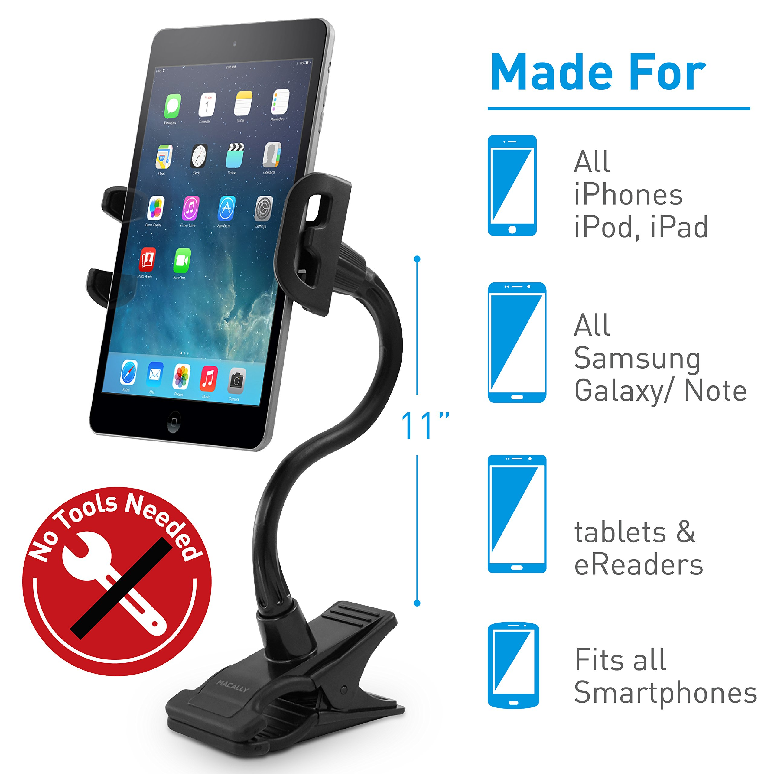 Macally Flexible and Adjustable Gooseneck Clip On Desk or Kitchen Table Holder Clamp Mount for iPad Air / Mini, Tablets, iPhone XS XS Max XR X 8 Plus, Moto Smartphones, & Nintendo Switch (ClipMount) by Macally (Image #2)