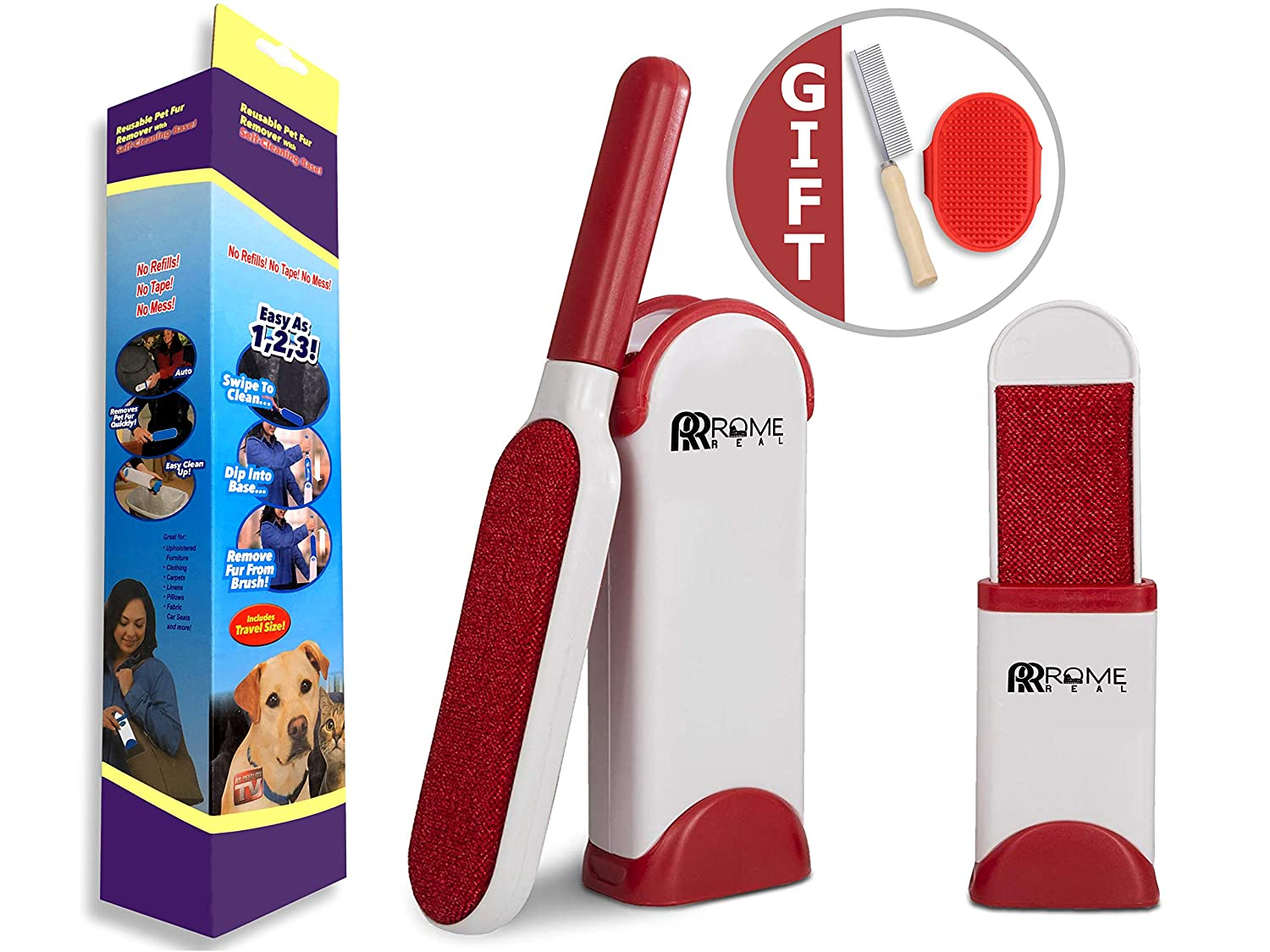 Best Pet Dog Hair Removal and Cat Fur Remover - Pet Fur and Lint Remover Magic Kit for Car Seat, Couch, Carpet, Clothing - with Pet Grooming Steel Dog Brush and Bathing Brush Rome Real