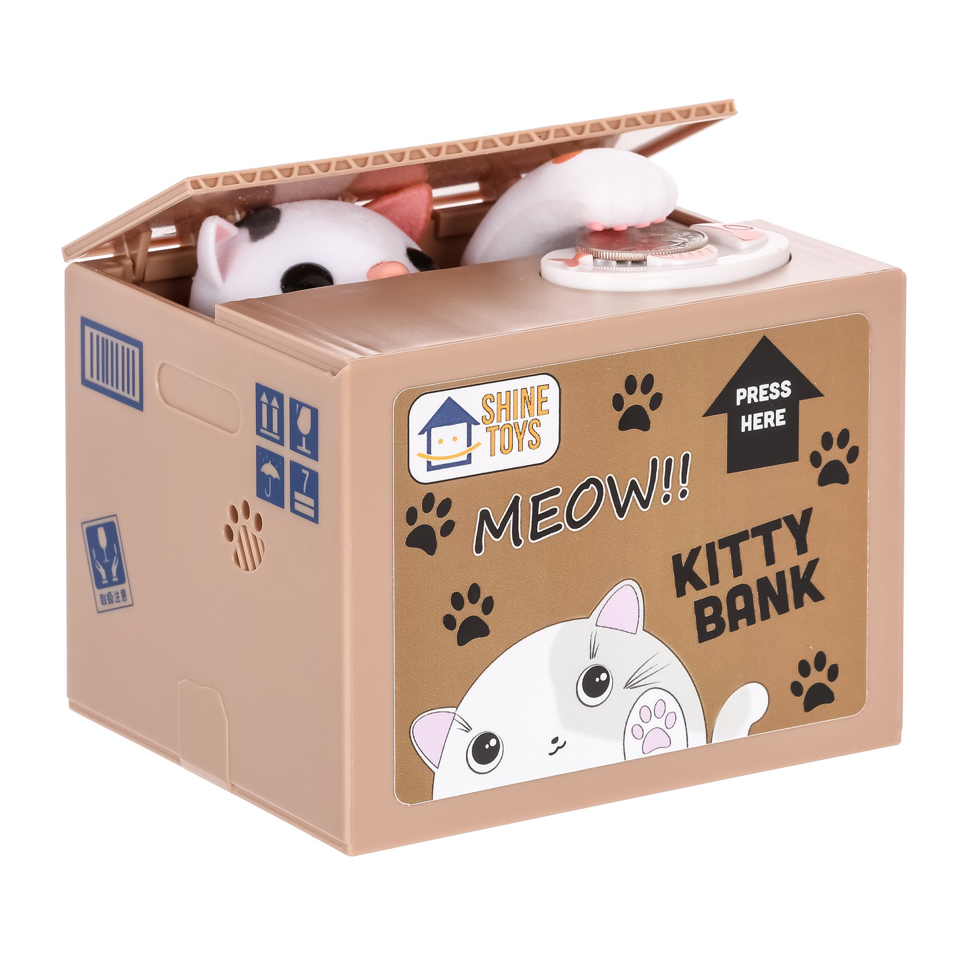 Itazura Coin Bank, Shine Toys Stealing Money Piggy Bank White Kitty