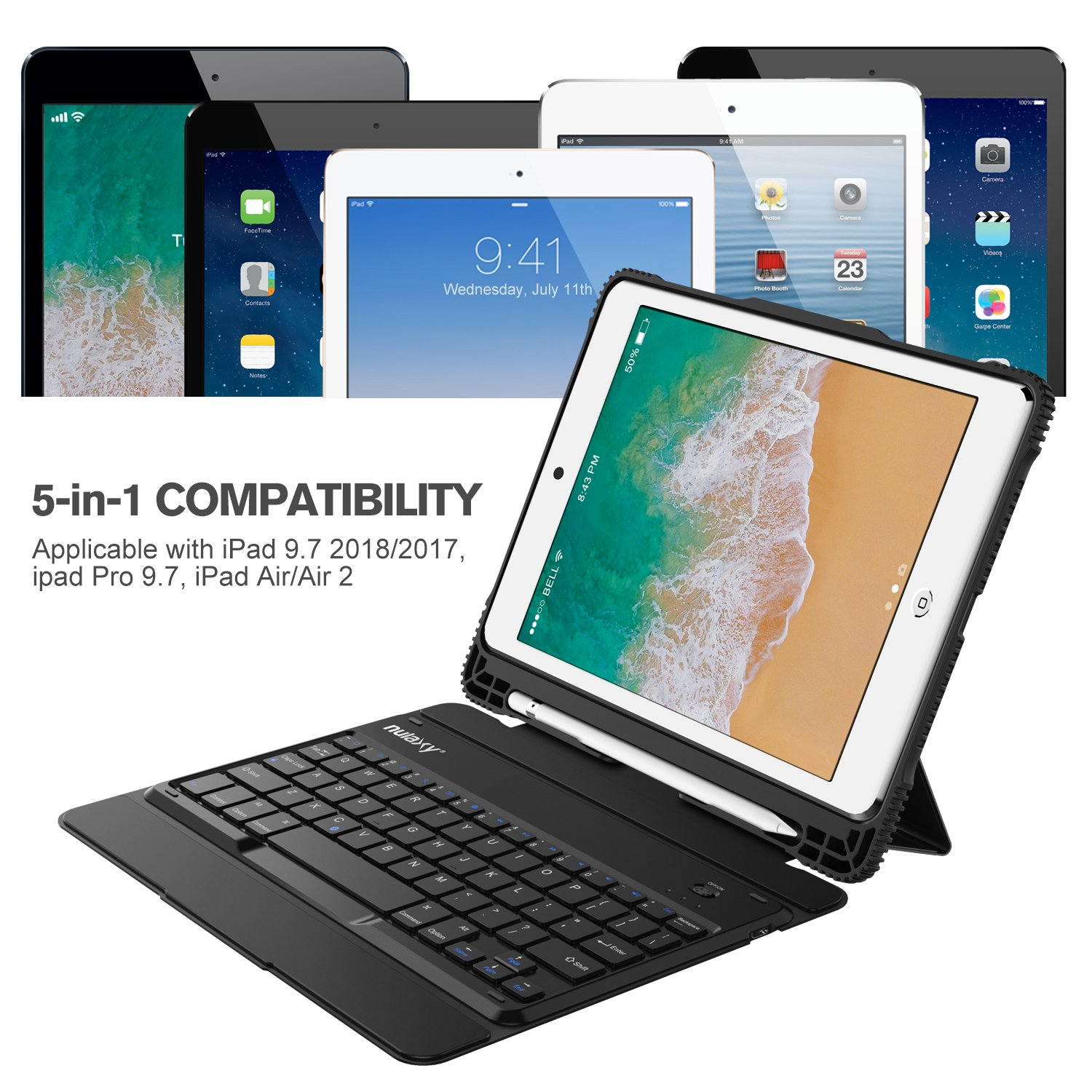 Nulaxy iPad Keyboard Case Compatible with iPad Air1/2, iPad Pro 9.7, iPad 9.7 2017/2018 - Detachable Bluetooth Keyboard/Built-in Magnetic Foldable Solid Stand with Auto Sleep/Wake - KM14 Black by Nulaxy (Image #2)