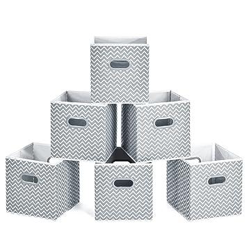 Homfa 6er Aufbewahrungsbox Stoff Set Faltbox Aufbewahrungskorb Regalbox Regalk/örbe Ordnungsbox Stoffbox Kiste Aufbewahrung f/ür Kallax 30x30x30cm schwarz