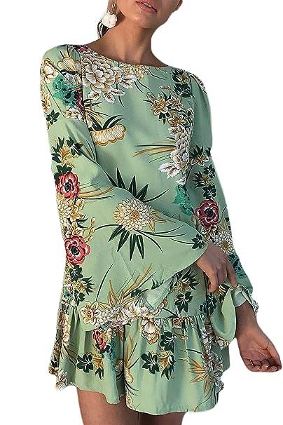 Mujeres Vintage Manga De Campana Floral Print Loose Shift Plisado Vestido De Fiesta: Amazon.es: Ropa y accesorios