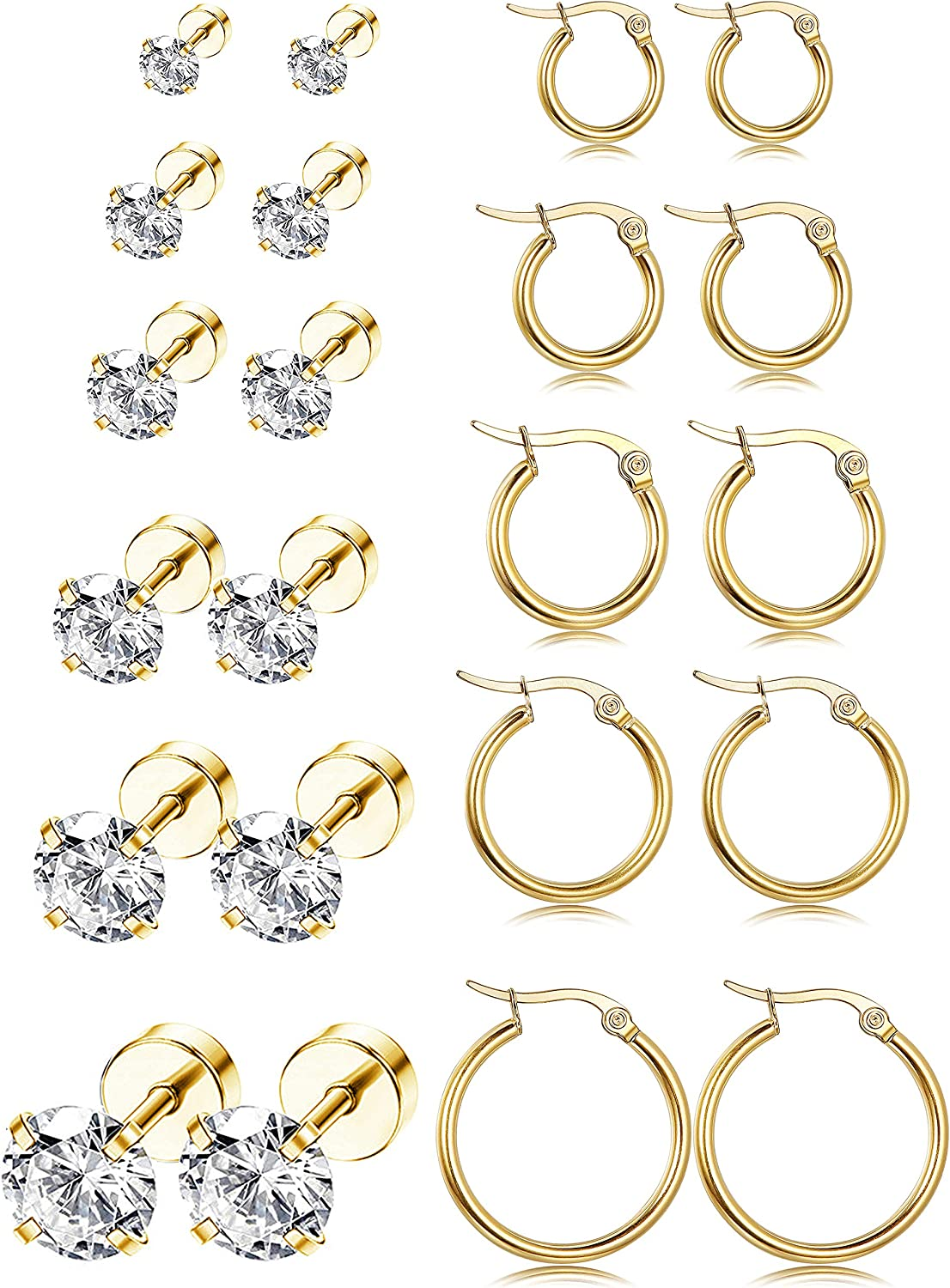 LOYALLOOK 11Pairs Stainless Steel Ear Stud Piercing Hoop Earrings Set Cute Huggie Earrings Cubic Zirconia Cartilage Barbell Stud Earring Screw Flat Back Earrings