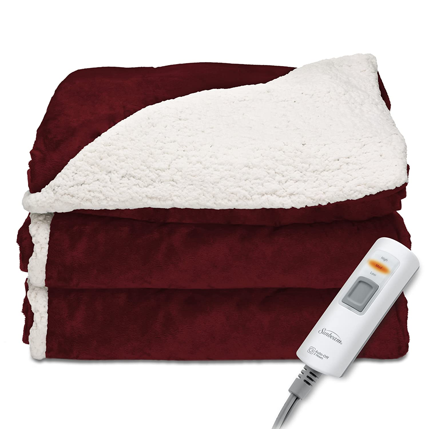 Sunbeam Heated Throw Blanket | Reversible Sherpa/Royal Mink, 3 Heat Settings, Garnet