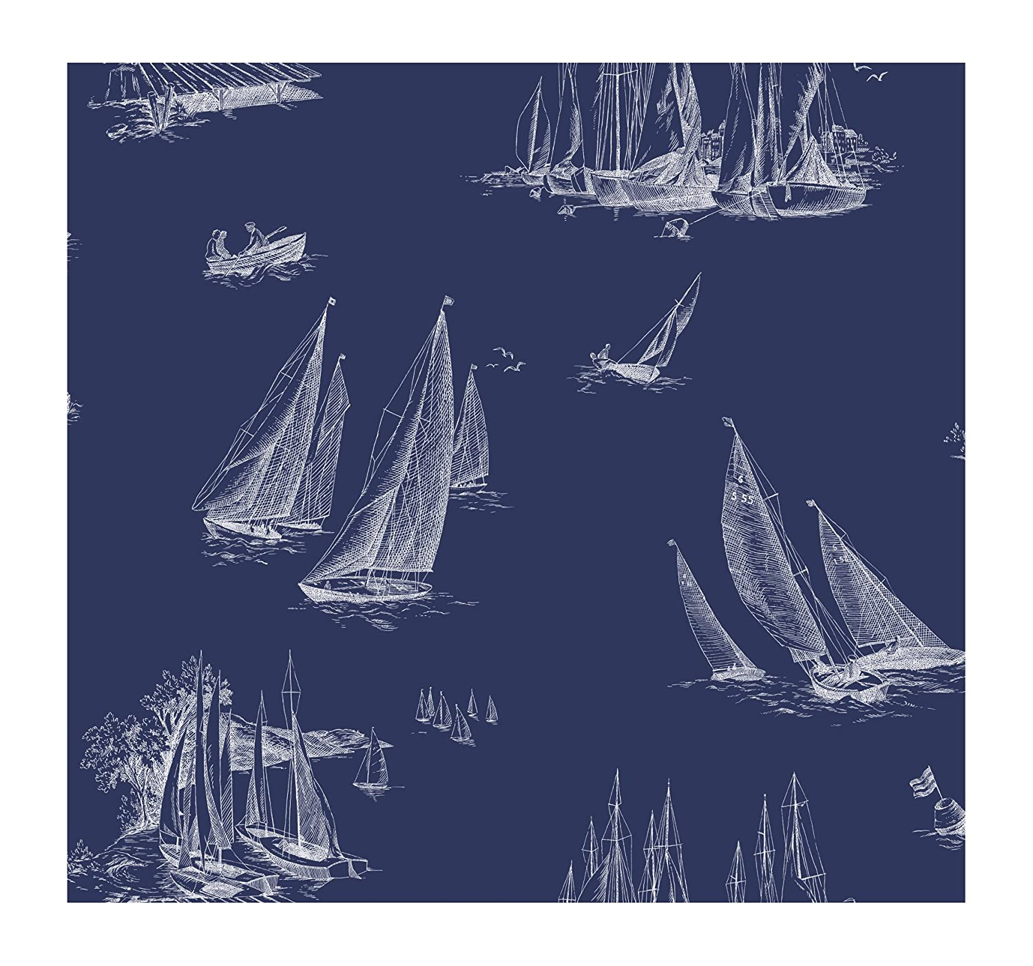 York wallcoverings ac6136 nautical living sailboat wallpaper york wallcoverings ac6136 nautical living sailboat wallpaper blueprint bluewhite amazon malvernweather Gallery