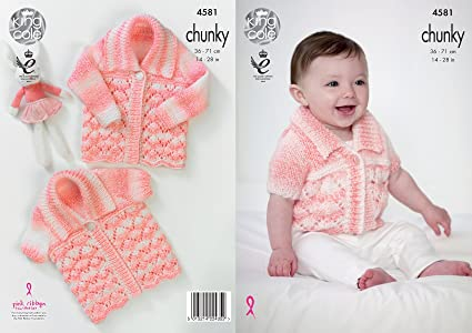 6408906b8b55 Amazon.com  King Cole Baby Chunky Knitting Pattern Lacy Short or ...