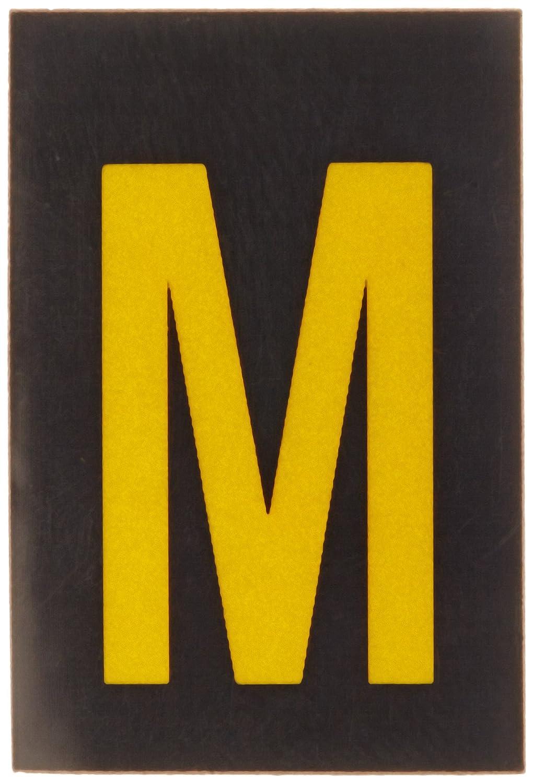B-997 Engineering Grade Bradylite Reflective Sheeting Pack Of 25 Legend M 1 Width Yellow On Black Reflective Letter Brady 5905-M Bradylite 1-1//2 Height