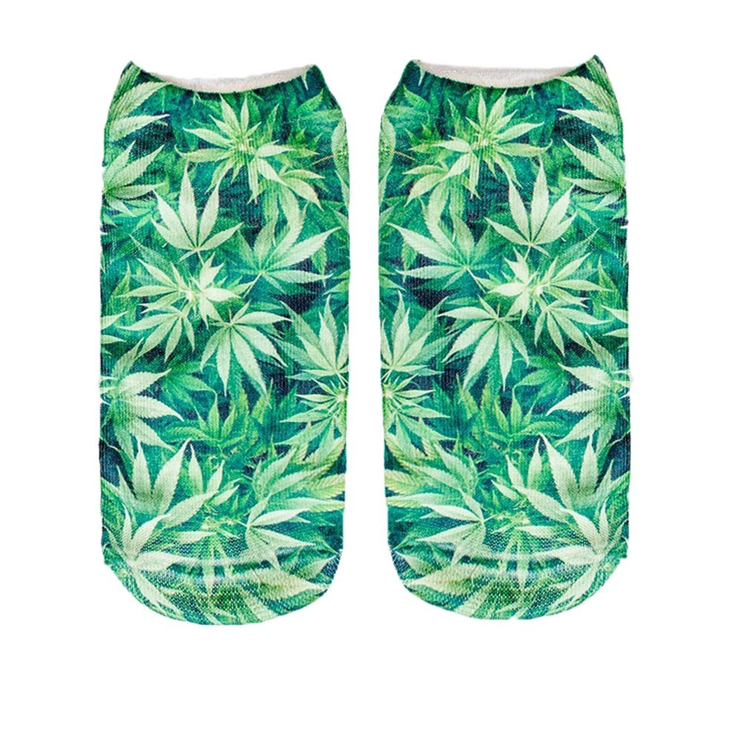 Unisex Sunshine Beach 3D Weed Pattern Printed Crew Low Cut Ankle Socks QYY000803