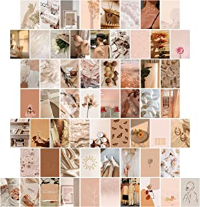 60 Pieces Beige Aesthetic Picture Posters for Wall Collage Boho Wall Collage Aesthetic Pictures Room Decor for Teen Girls Aesthetic Room, Dorm Photo Display, 4 x 6 Inch