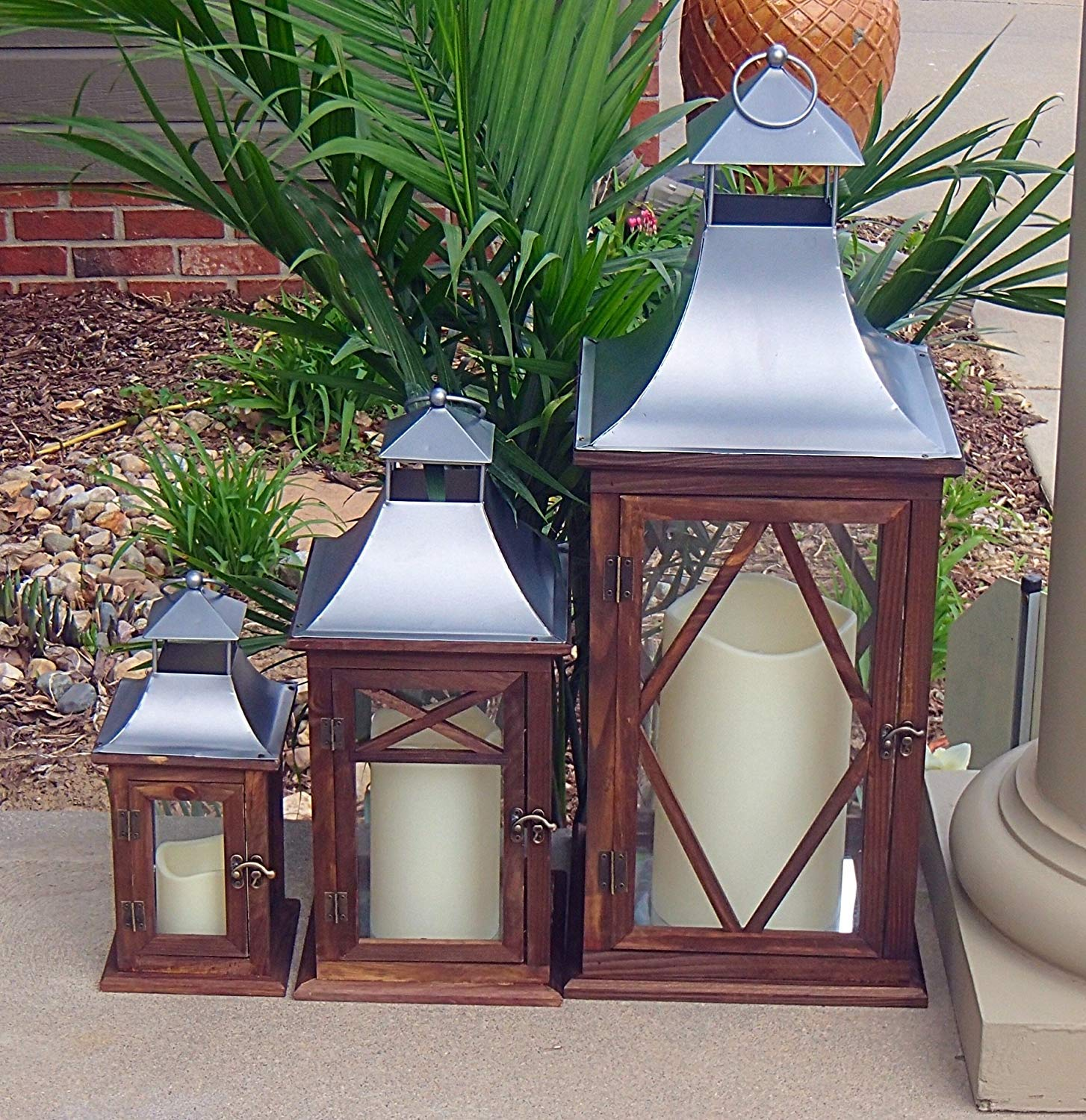 Pebble Lane Living NANTUCKETWHITE Indoor/Outdoor Candle Lanterns, Wood with Matte Silver Metal Top Accents & Tempered Glass Panes, Assorted Set of 3