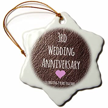 Amazon.com: 3dRose orn_154430_1 3rd Wedding Anniversary gift Leather ...