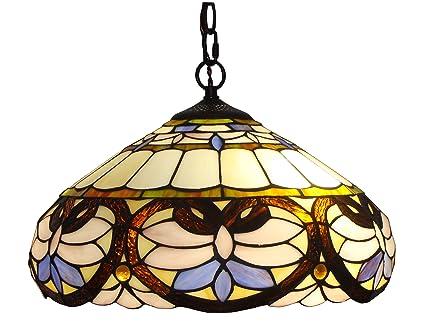 Amora Lighting Am1062hl16 Tiffany Style Ceiling Pendant Hanging Lamps 16 Multicolour