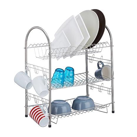 Amazon.com: Relaxdays 3-Tier Escurreplatos, estante para ...
