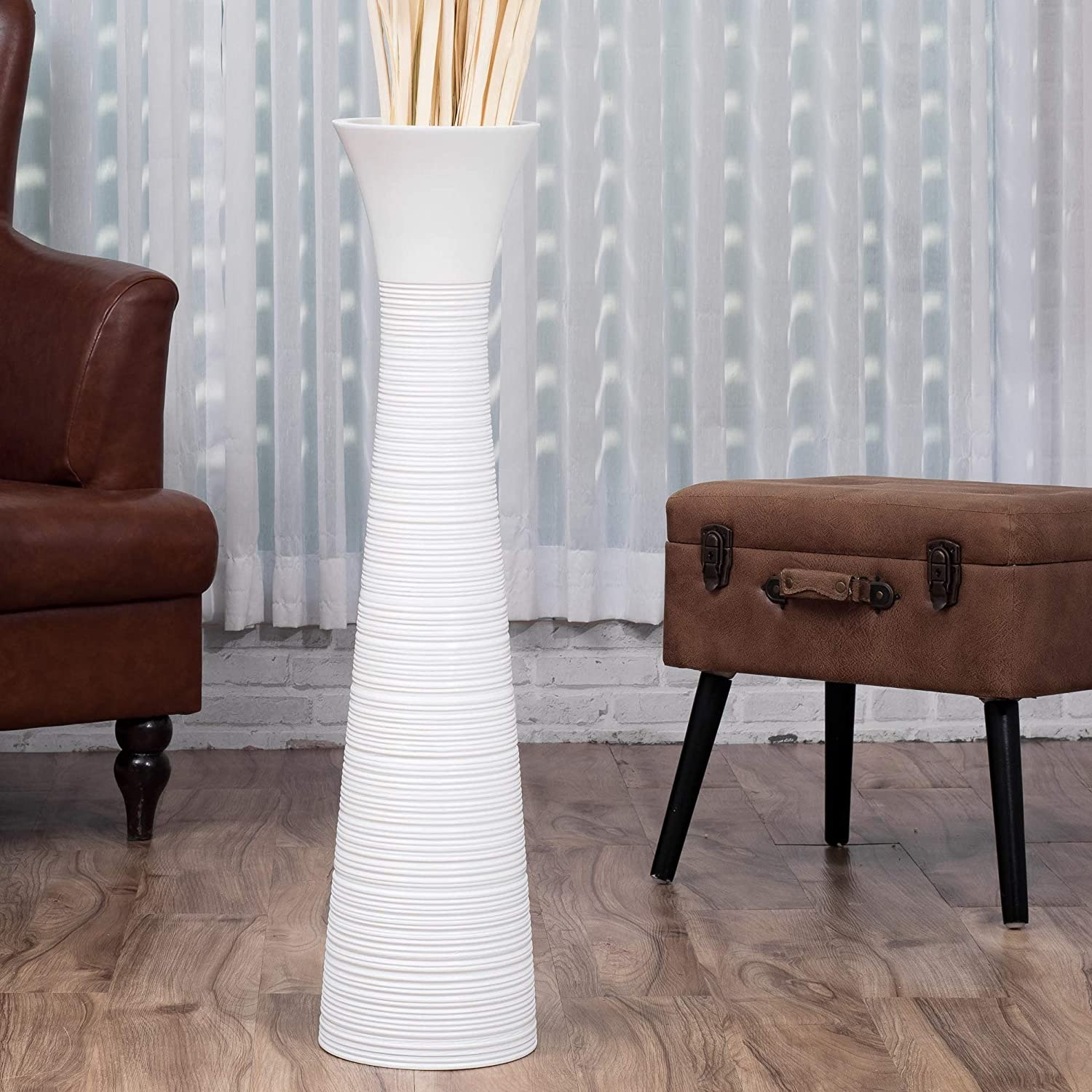 Leewadee Tall Big Floor Standing Vase for Home Decor 36 inches, Mango Wood, White