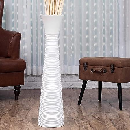 Leewadee Grand Vase A Poser Au Sol pour Branches D/écoratives Design Vase Haut 75 cm Blanc Bois de Mangue