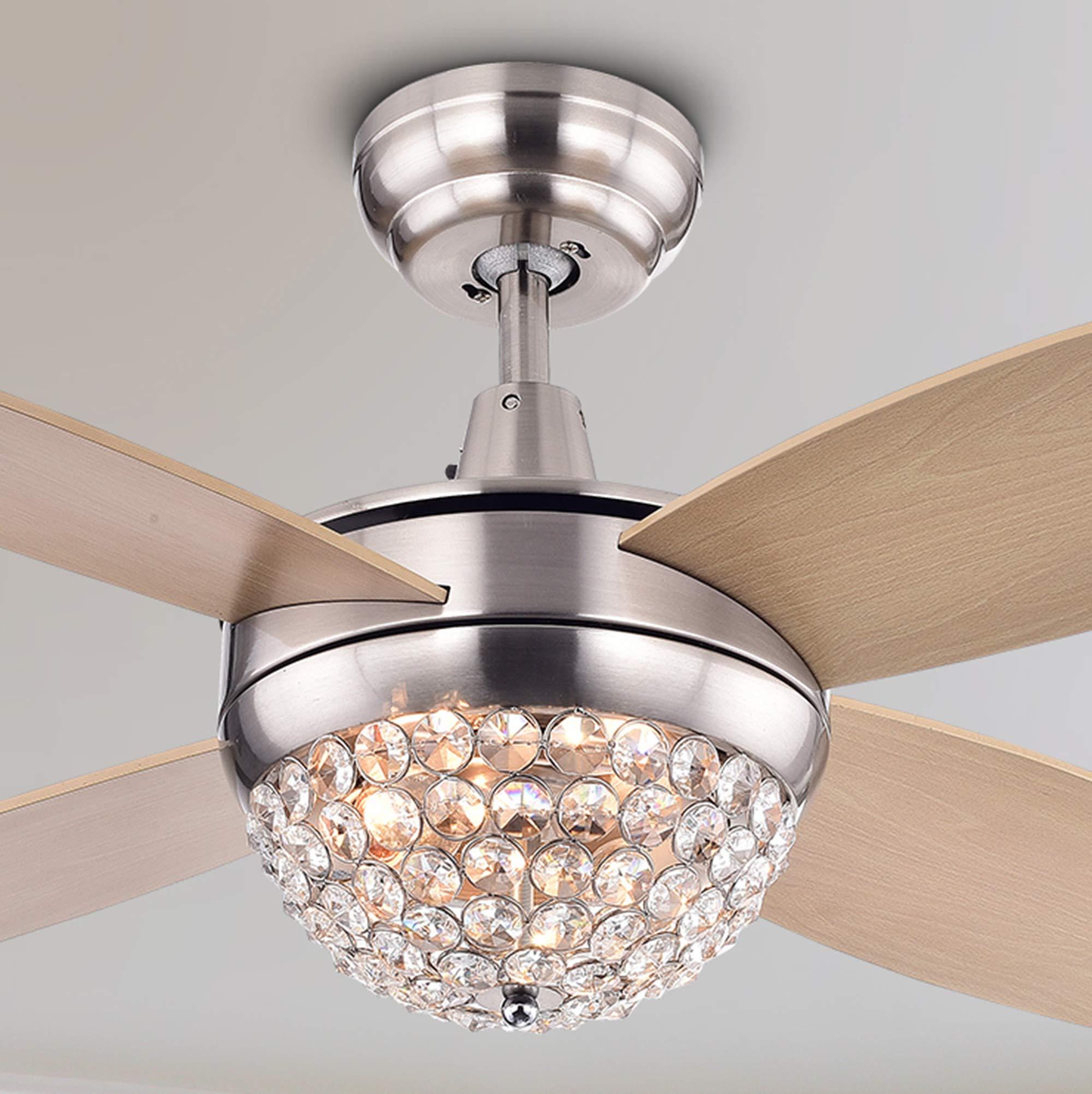 Warehouse of Tiffany CFL-8171TIX Leandra Wood Nickel 2-Light 4-Blade Crystal 46-inch Remote Ceiling Fan, Beige
