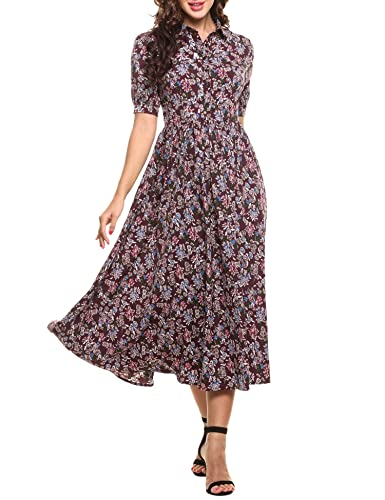 ACEVOG Women's Vintage Style Short Sleeve Floral Print Long Maxi Dress