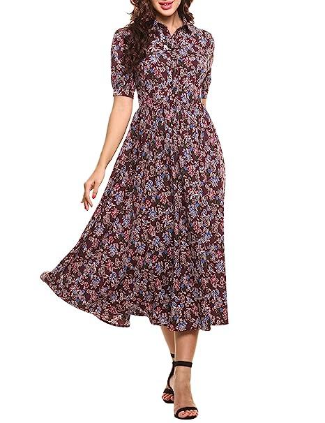 1930s Day Dresses, Tea Dresses, House Dresses ACEVOG Womens Vintage Style Short Sleeve Floral Print Long Maxi Dress $36.19 AT vintagedancer.com
