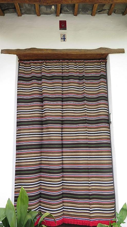 Cortina Alpujarreña Rustica,(160 x 215 cm), Multicolor Color 629 Hecha en España, Fibra Natural de algodón - Cortina para Puerta Exterior mosquitera y Parasol: Amazon.es: Hogar
