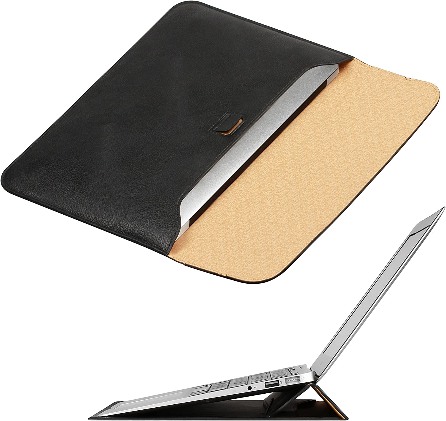 OMOTON Laptop Sleeve with Stand Function, Slim Carrying Bag Compatible 2018/2019 New MacBook Air 13 inch, Black