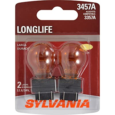 SYLVANIA - 3457A Long Life Miniature - Amber Bulb, Ideal for Park and Turn Lights (Contains 2 Bulbs): Automotive