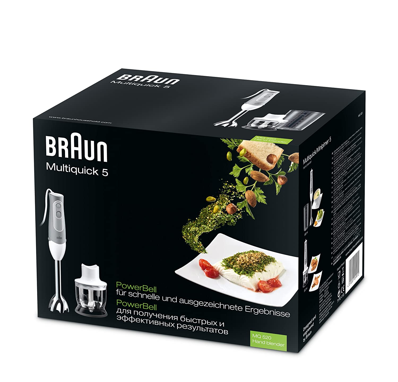 Braun Hogar MQ 520 Pasta Batidora con Mini Picadora de 350 ml, 600 W, Plástico, 2 Velocidades, Gris