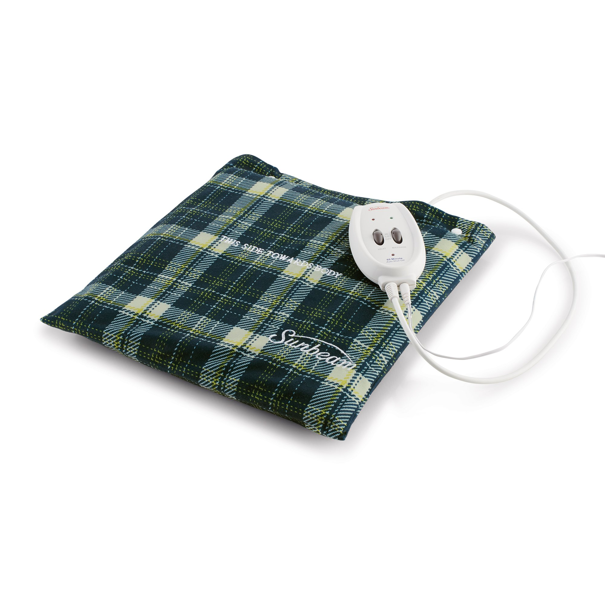 Sunbeam Flexi-Soft Massaging Heating Pad, 2 Heat/Massage Settings, 1-Hour Auto-Off, 12'' x 12'', Plaid