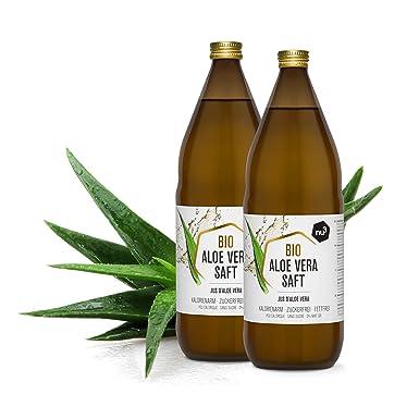 nu3 Zumo de Aloe Vera Orgánico - 2 x 1L en botella de cristal - Gel de aloe vera puro - Jugo de aloe vera 100% ecológico - Ideal para bebidas ...