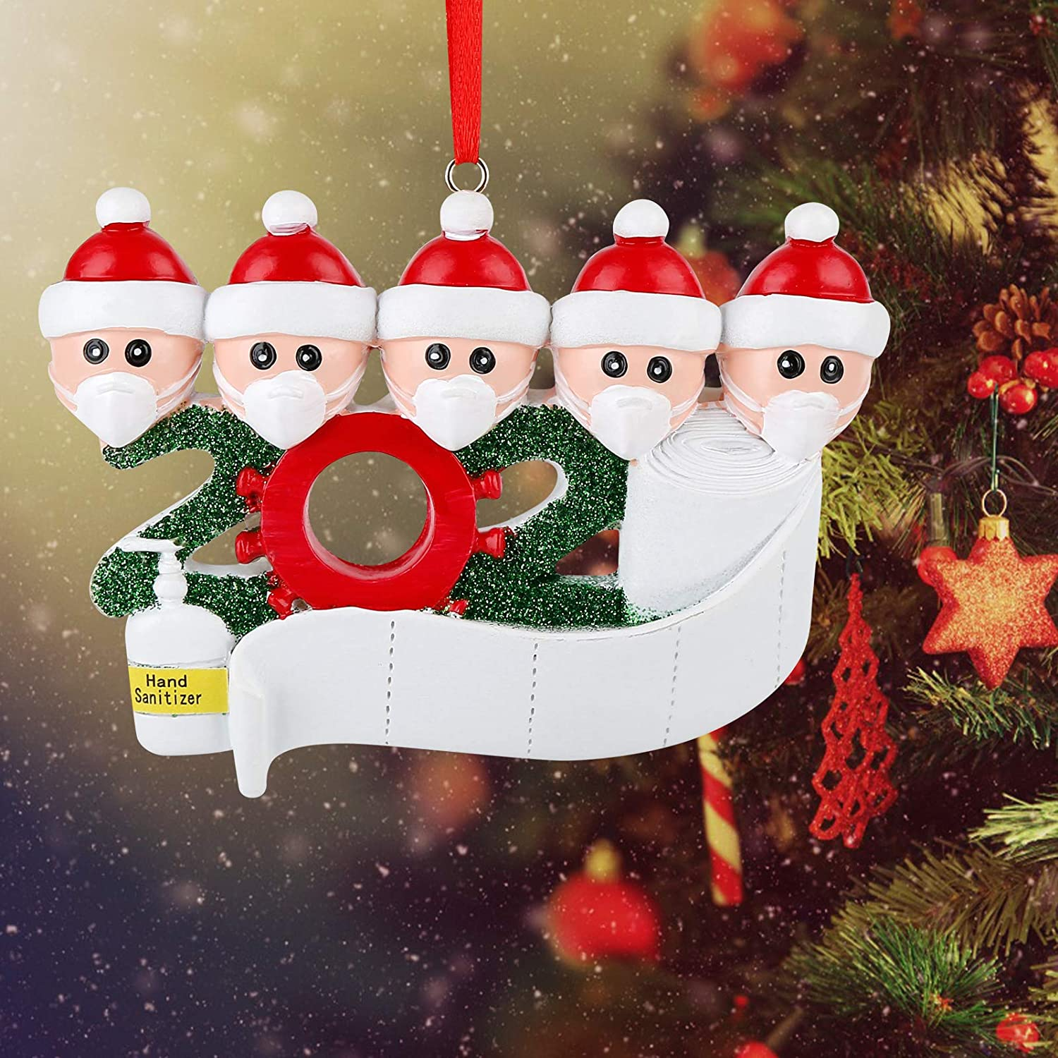 Kaqulec Christmas Ornament Personalized Decorations Home Family Member Gift Christmas Tree Indoor DIY Set with Toilet Paper Creative Survivor Family Xmas Gifts (Free Marker Pen)