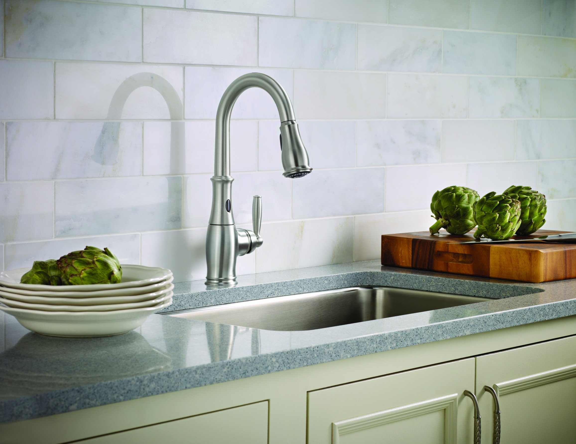 Moen 7185ESRS Brantford One-Handle High-Arc Pulldown Kitchen Faucet Featuring Reflex and MotionSense, Spot Resist Stainless by Moen (Image #4)