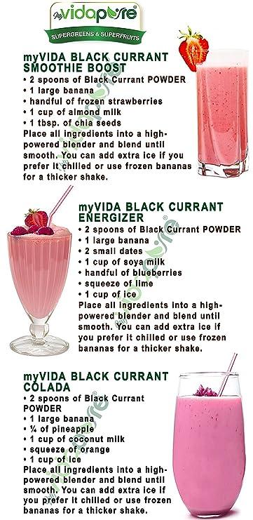 Polvo de grosella negra orgánica myVidaPure. 100% Pure RAW ...