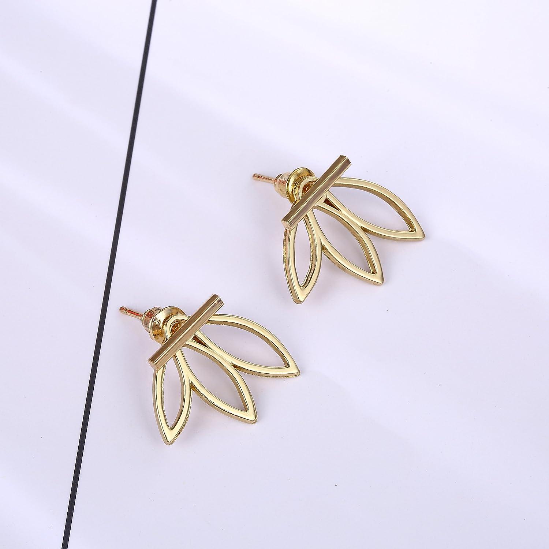 Surprise goods 2 Pairs Hollow Lotus Flower Earrings Rear Hanging Simple Boutique Chic Stud Earrings Set