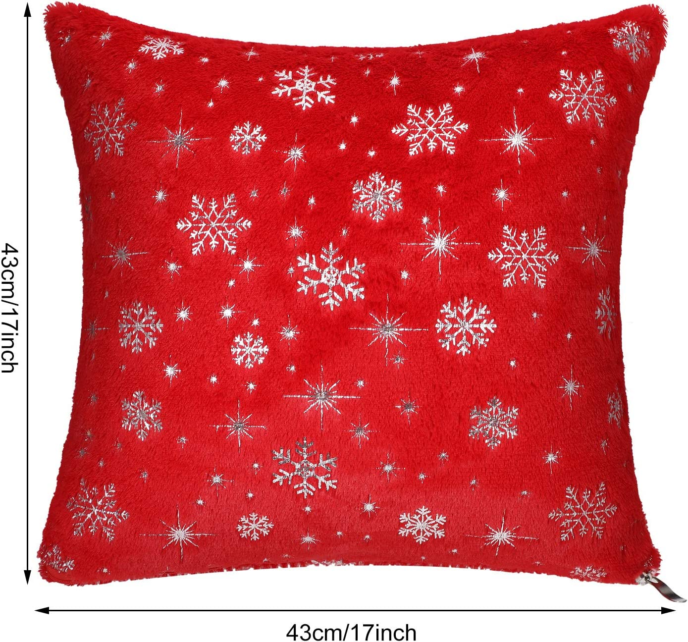 Jetec 2 Pieces Christmas Cozy Fleece Throw Pillow Cover Double Sided Snowflakes Pillow Cases Snowflake Embroidered Pillowcases for Bed Sofa Car White