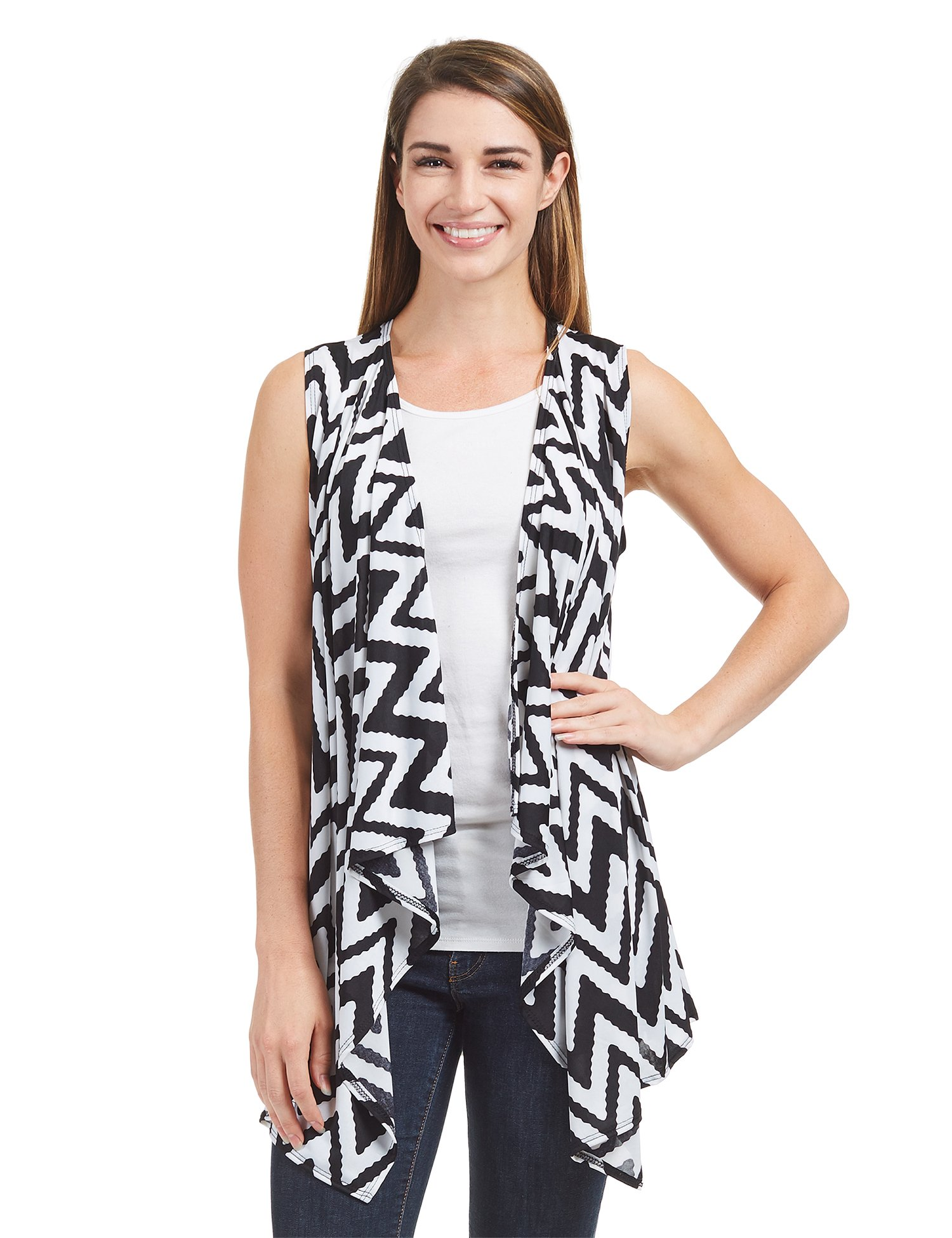 Lock and Love WSK1350 Womens Lightweight Print Draped Sleeveless Cardigan XXXL CHEV_Black by Lock and Love (Image #2)