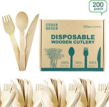 200-Pack Urban Green Disposable Wooden Cutlery Set