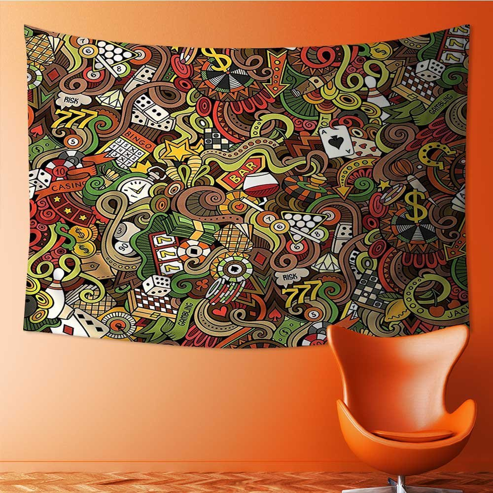 SeptSonne Decor Tapestry Wall Hanging by Doodles Style Art Bingo Excitement Checkers King Tambourine Vegas Home Decoration Wall Tapestry Hanging 60W x 40L Inch