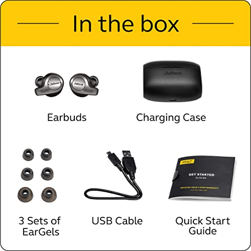 Jabra Elite 65t Earbuds – Alexa Built-In, True Wireless Earbuds with Charging Case, Titanium Black