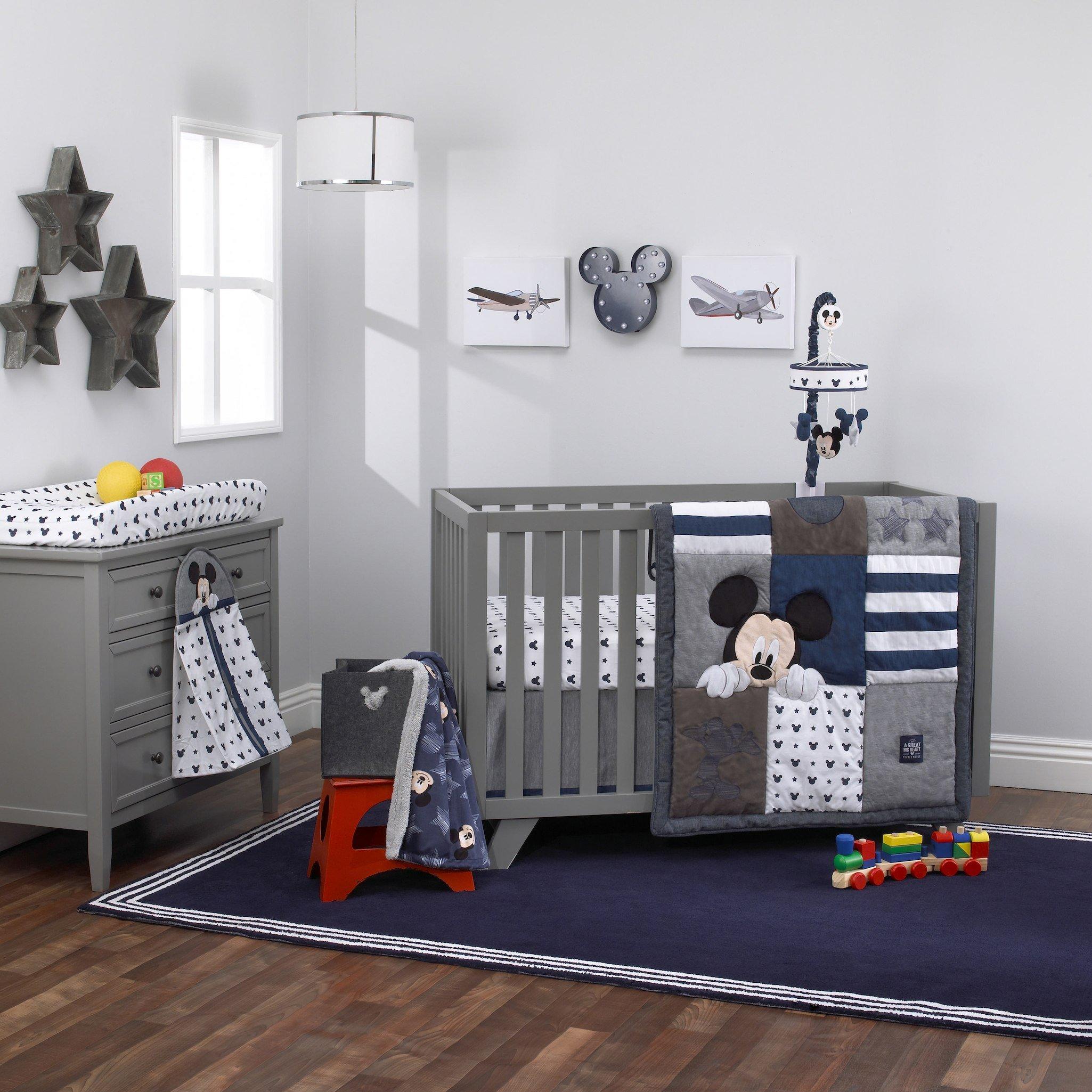 Disney Baby Mickey Mouse ''Hello World'' 4 Piece Crib Bedding Set - Navy Denim & White