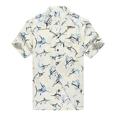 52d77d23 Palm Wave Men's Hawaiian Shirt Aloha Shirt Luau Shirt S Yellow Marlin Fish