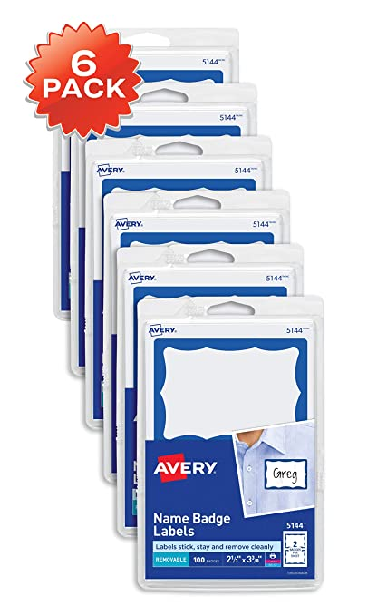 amazon com avery personalized name tags print or write blue