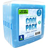 Ice Pack for Lunch Box - 5 Ice Packs - Original Slim & Long-Lasting Freezer Packs for your Lunch or Cooler Bag