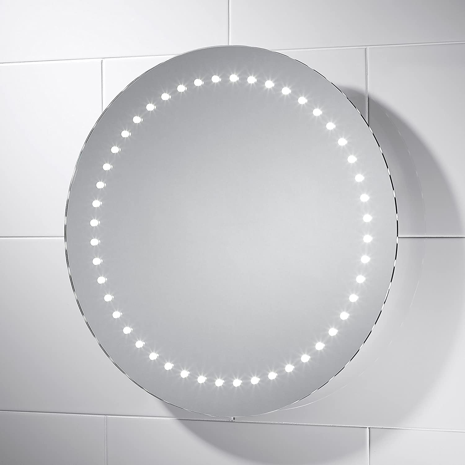 Estrella LED Illuminated Bathroom Mirror With Lights 500mm Diameter Sensor Switch And Full Size Demister Pad Amazoncouk Kitchen Home