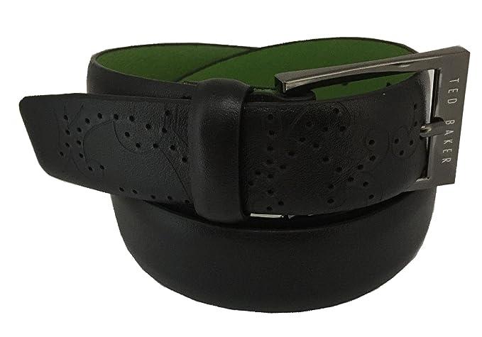 6c726f466 TED BAKER  Belted  Mens Smart Leather Belt Black Green Contrast Stitch ...