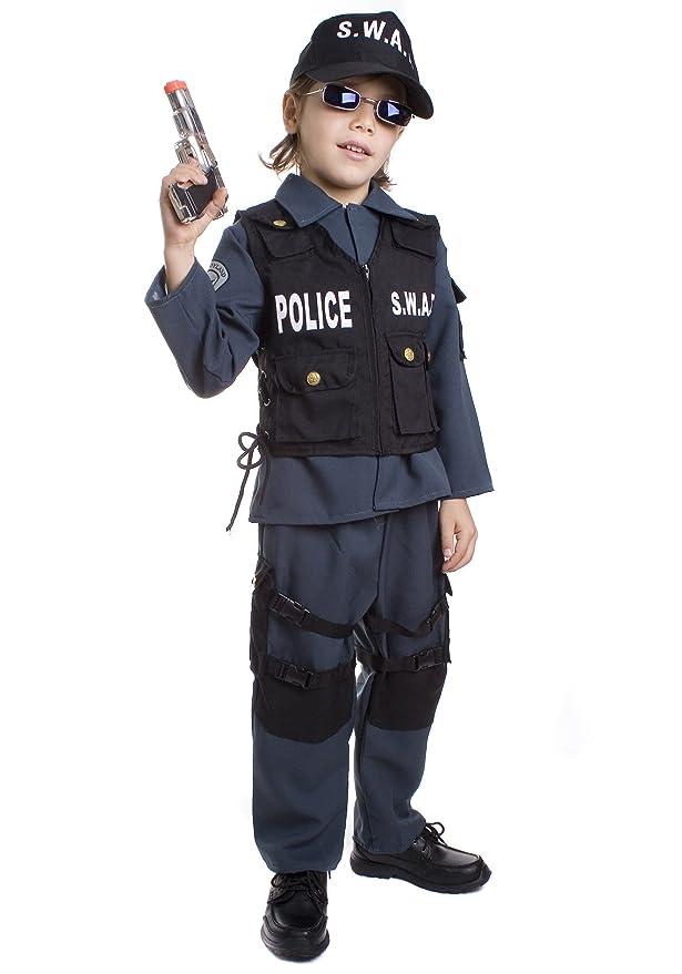 Dress up America – SWAT Policía Disfraz para Niños De Carnaval Halloween Talla: Medium (8 – 10 años) – M,, Up327Md